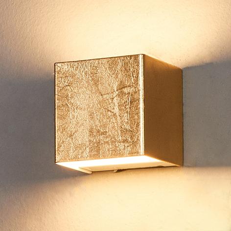 Gullfarget LED-vegglampe Quentin, 9 cm