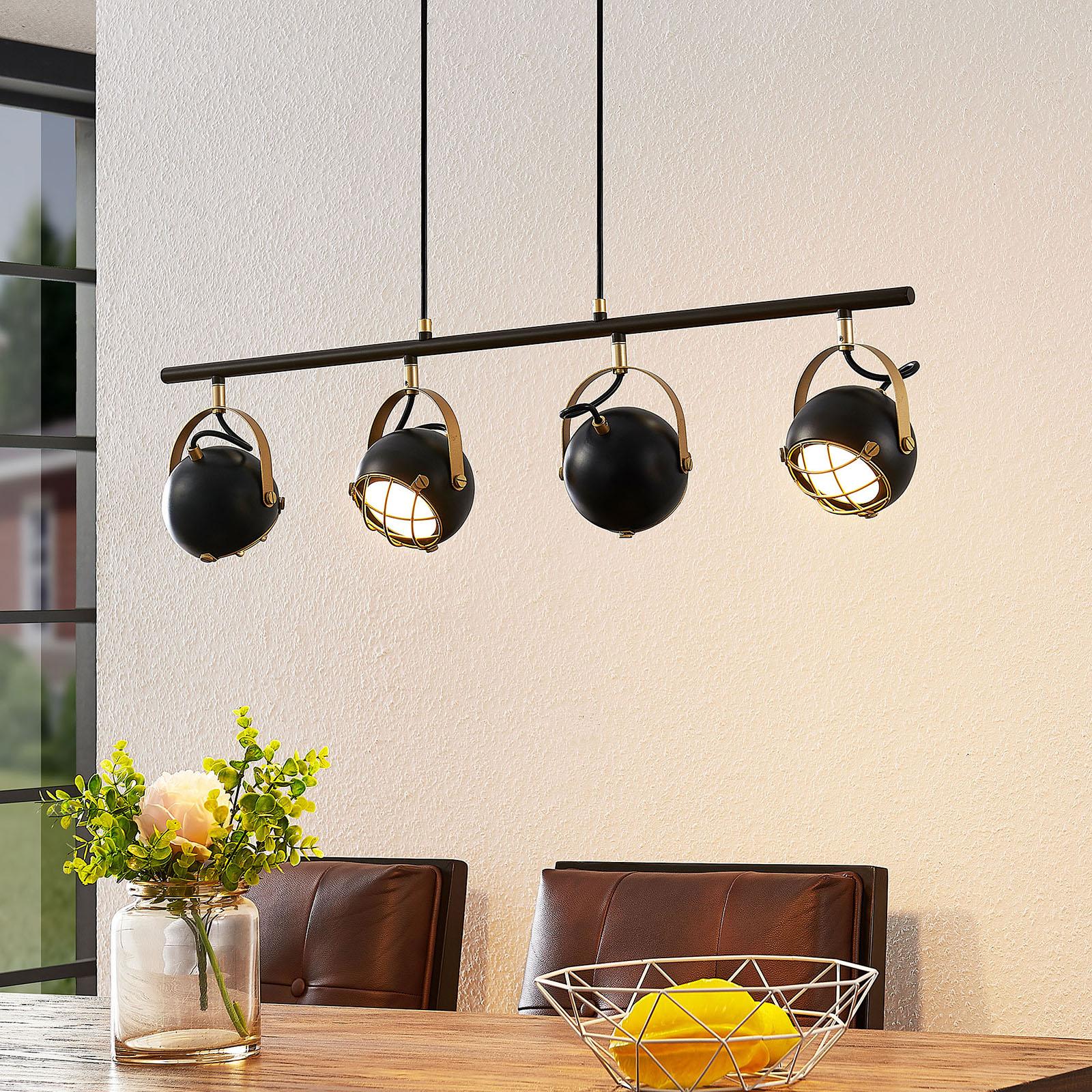 Lindby Dawid LED-hengelampe gulldekor, 4 lyskilder
