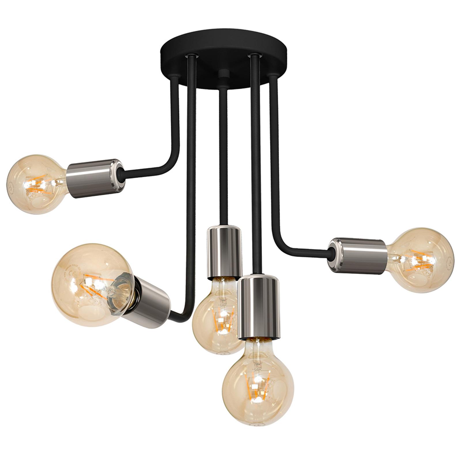 Plafonnier Candela, noir/chromé, à 5 lampes