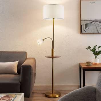 Lindby Aovan lámpara de pie, estante y USB, bronce