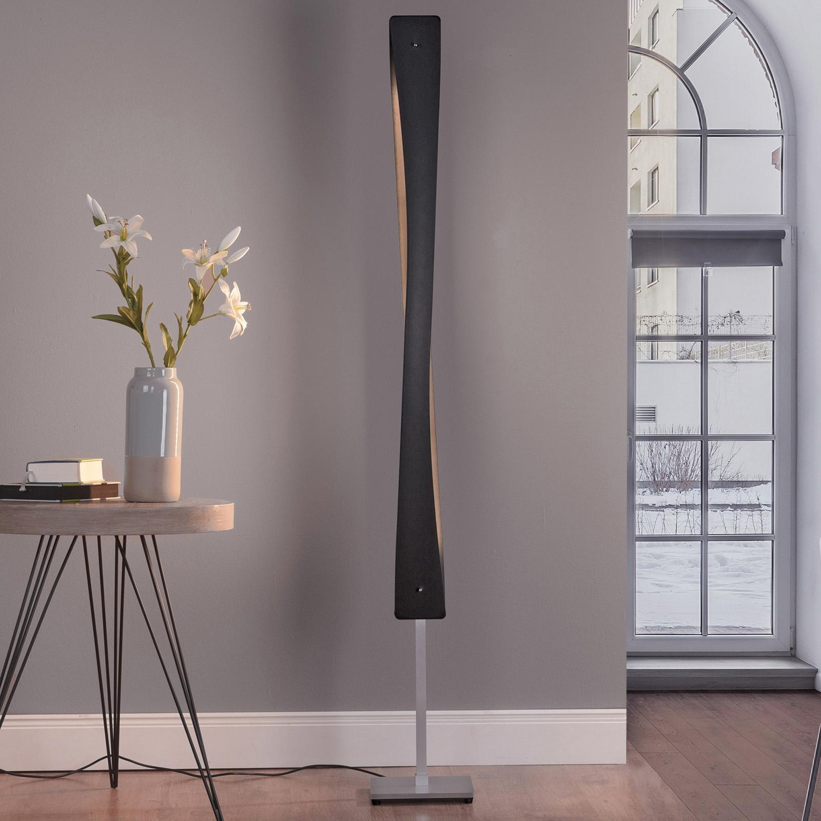 Lucande Lian lampada LED da terra, nero/alluminio
