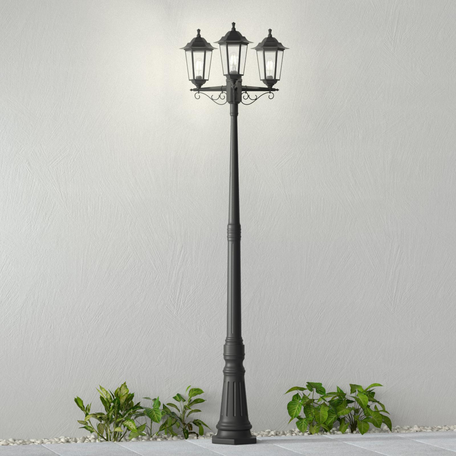 Lampe pour mât Nane lanterne, trois lampes