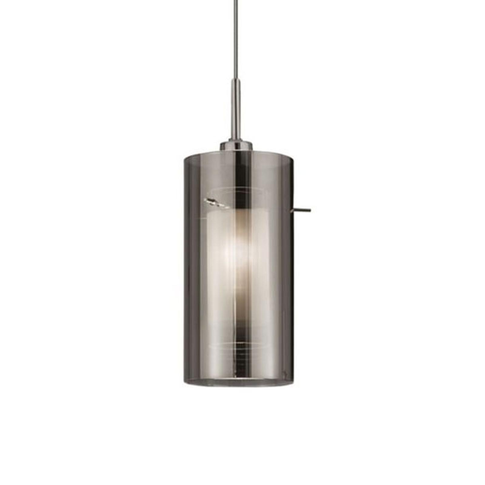Hanglamp Duo 2, rookglas/chroom 1-lamp