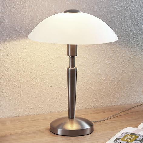 Lámpara de mesa Tibby, pantalla de vidrio, níquel