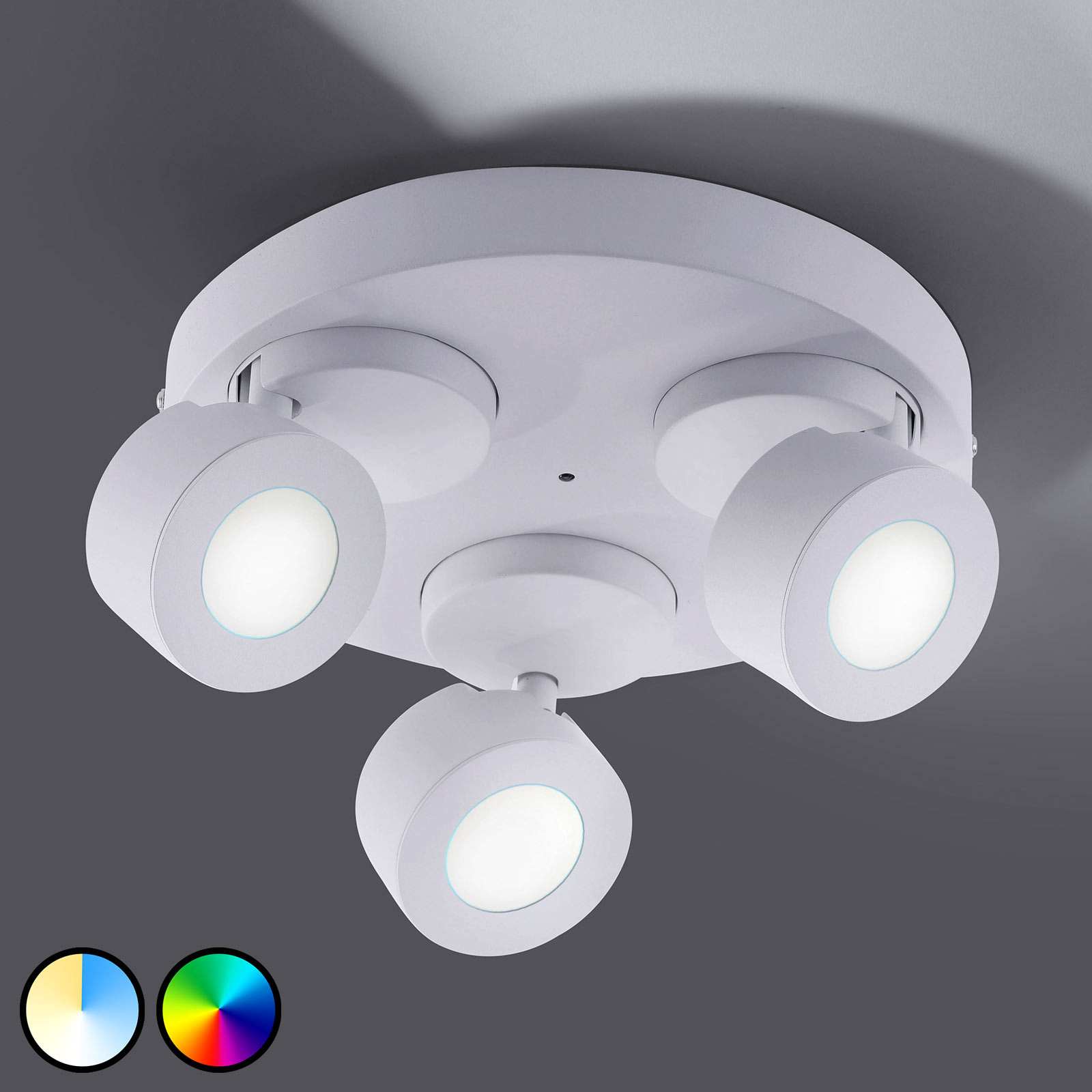 Trio WiZ Sancho LED-Deckenlampe 3-flammig weiß