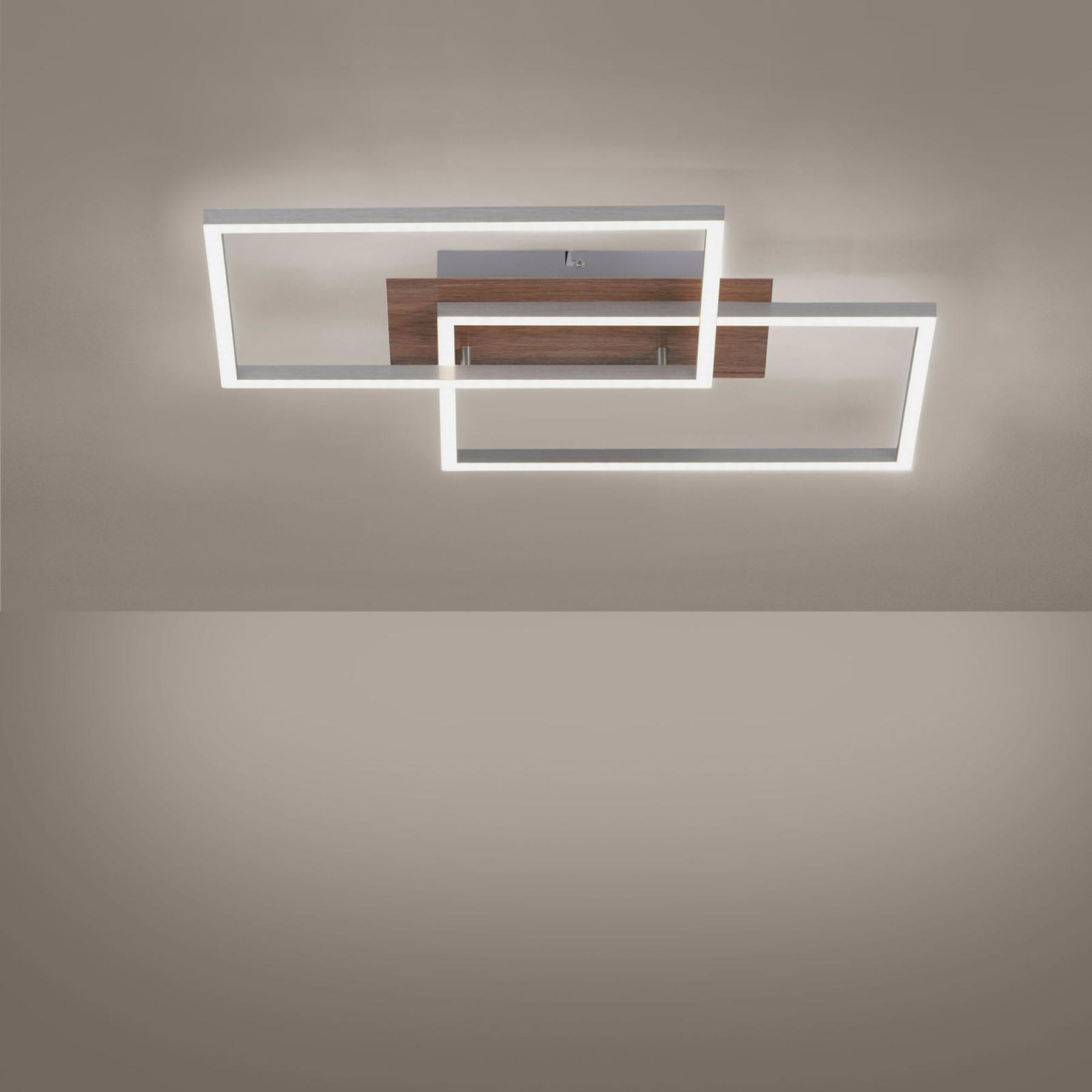 LED plafondlamp Iven houtdecor/st. 2-lamps vierk.