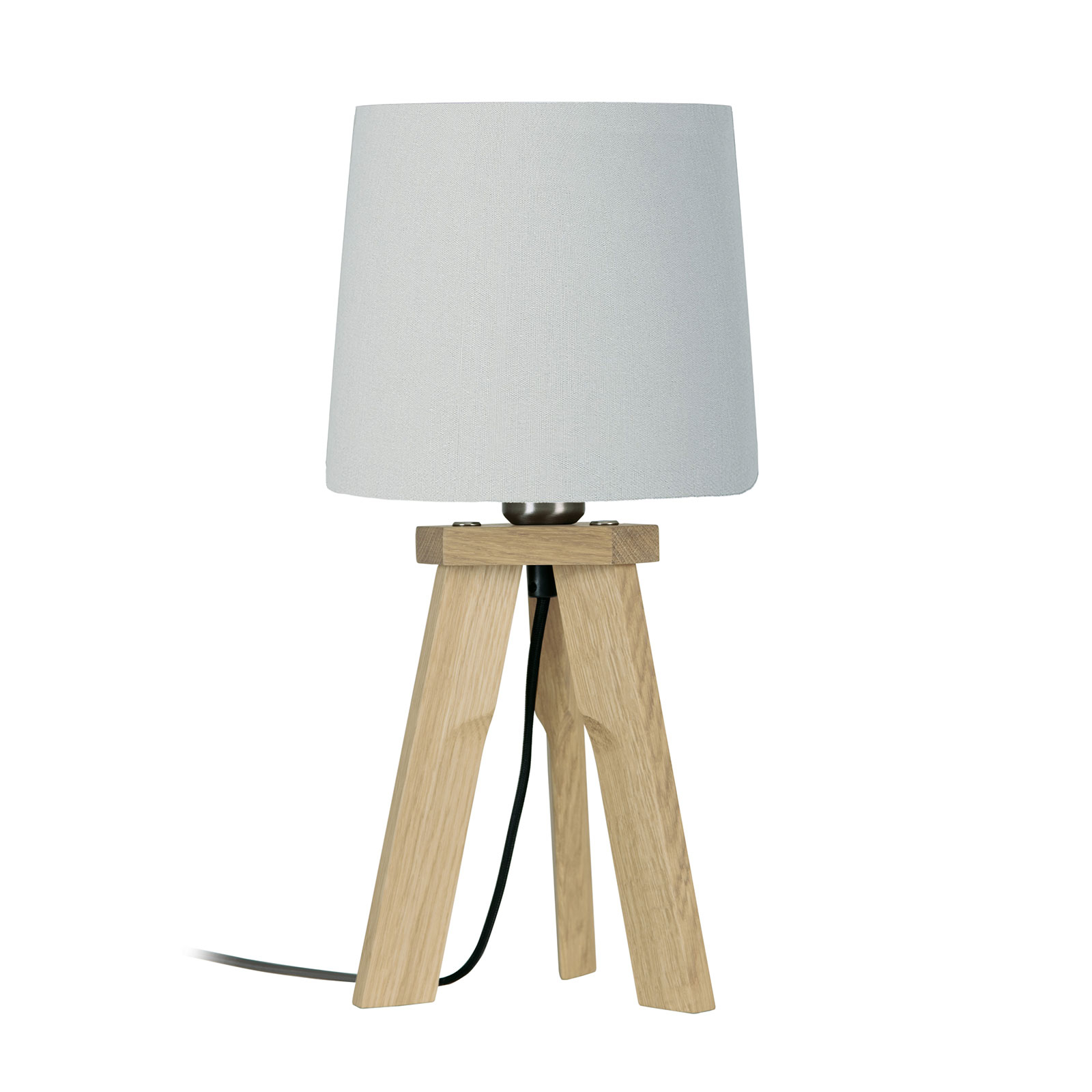 HerzBlut Tre tafellamp, eiken natuur, wit, 42cm