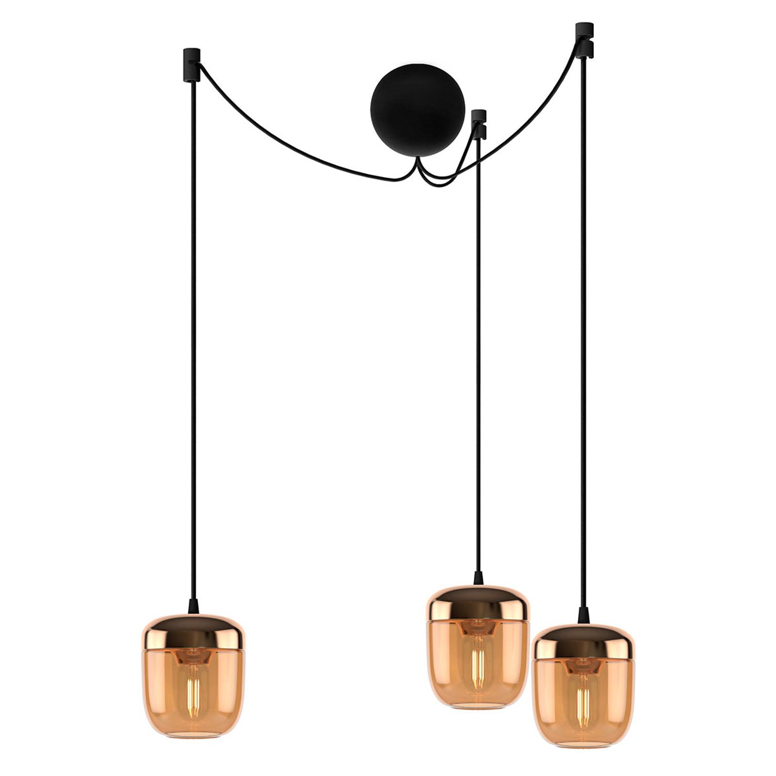 UMAGE Acorn hængelampe 3 lyskilde rav messing