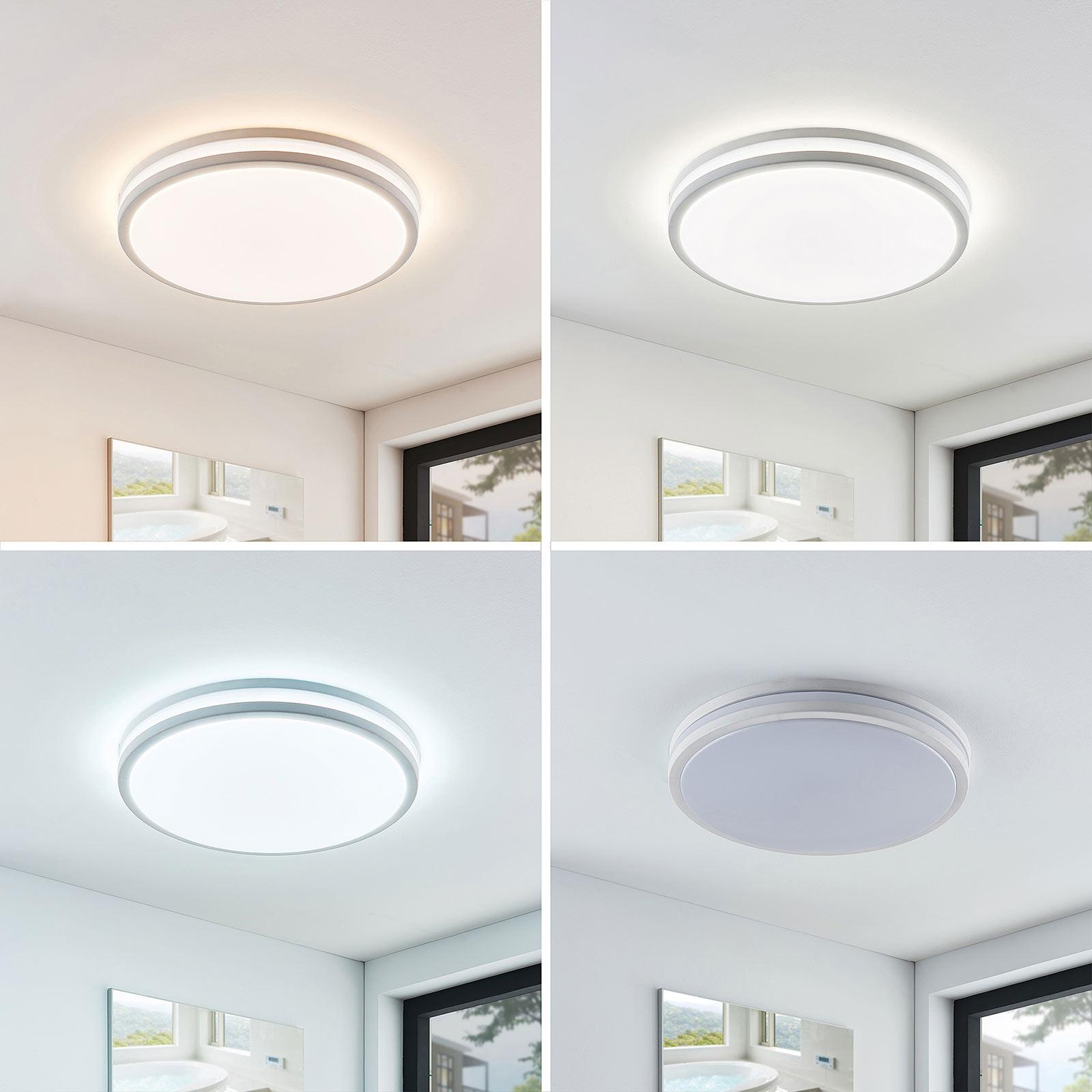 LED-taklampe Arnim i hvitt og rund form