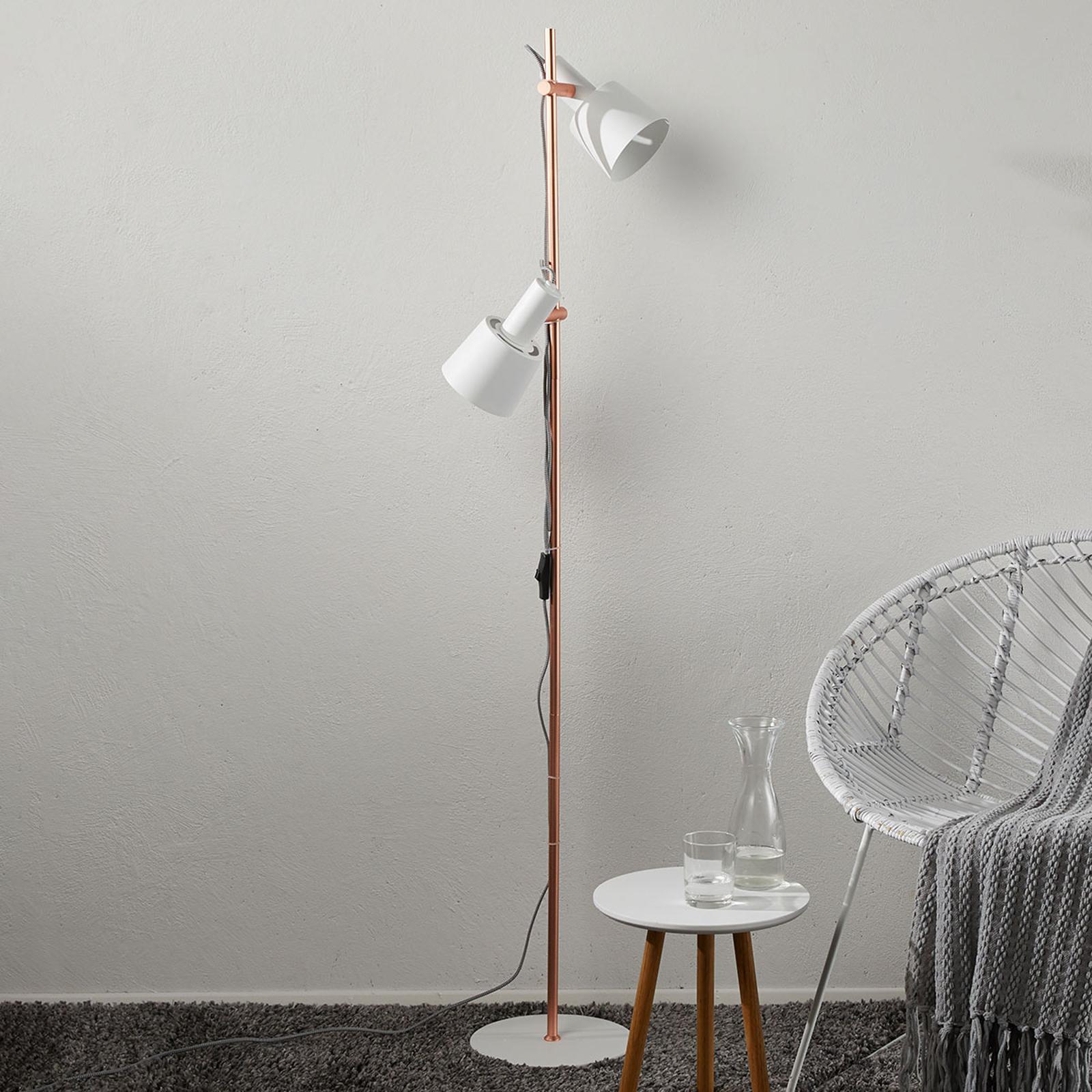 Lampadaire à 2 lampes Haldar en blanc/cuivré