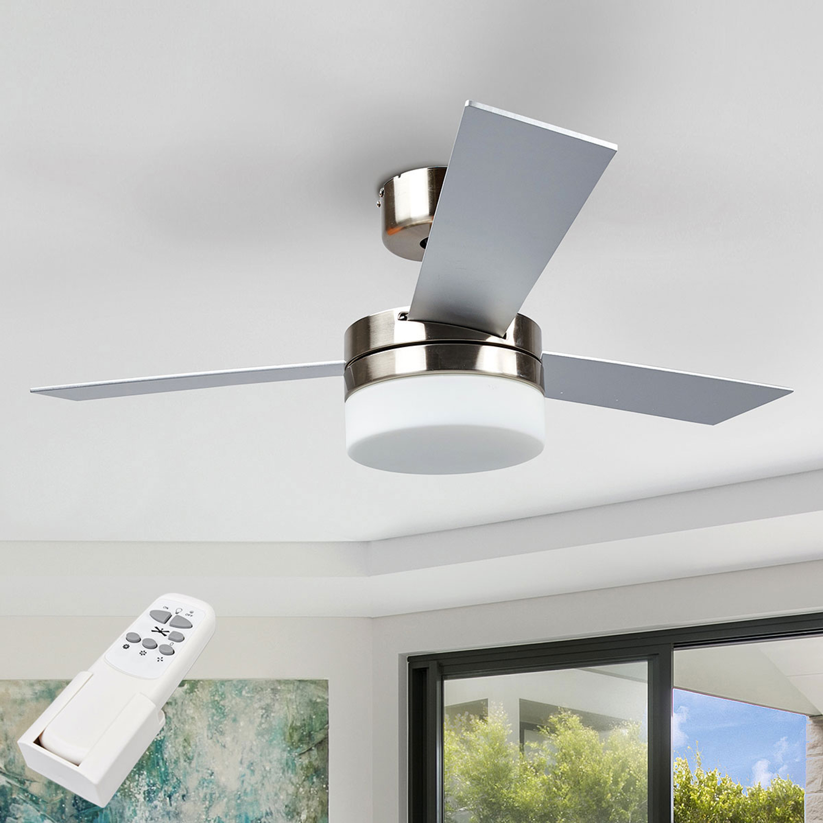 Ventilador de techo Alvin con tres palas y luz