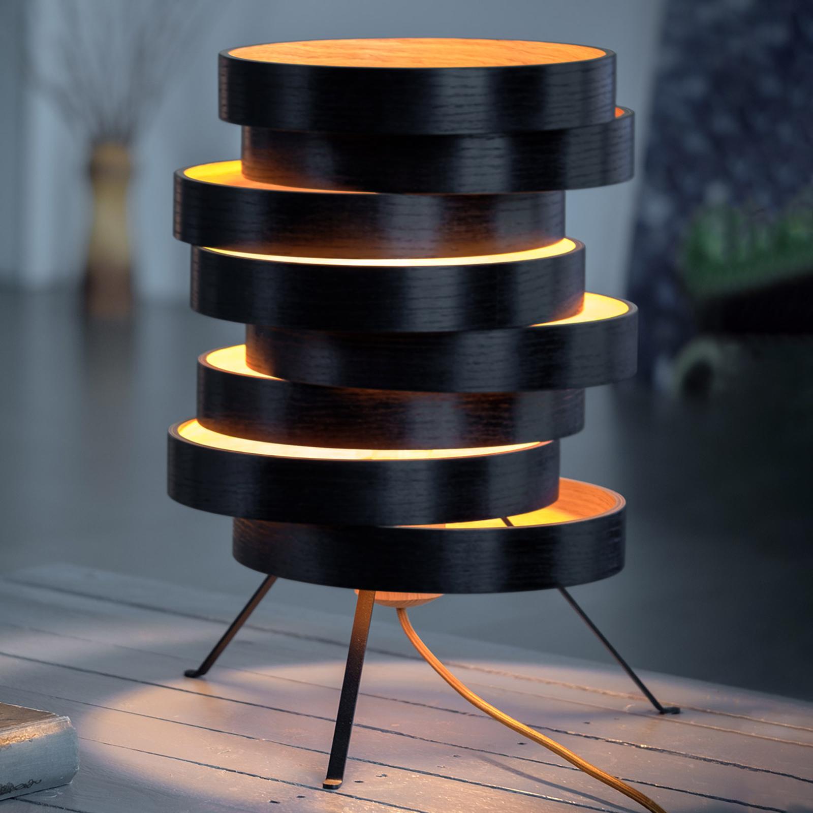 Tischleuchte Cloq mit Holzschirm