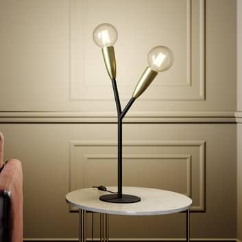 Lucande Carlea -pöytävalo, 2-lamp., musta-messinki