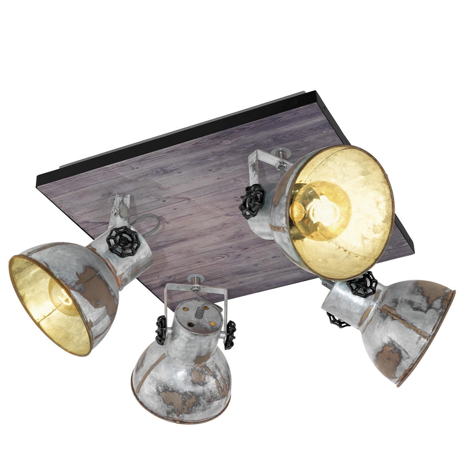 Loftlampe Barnstaple i industrilook 4 lyskilder
