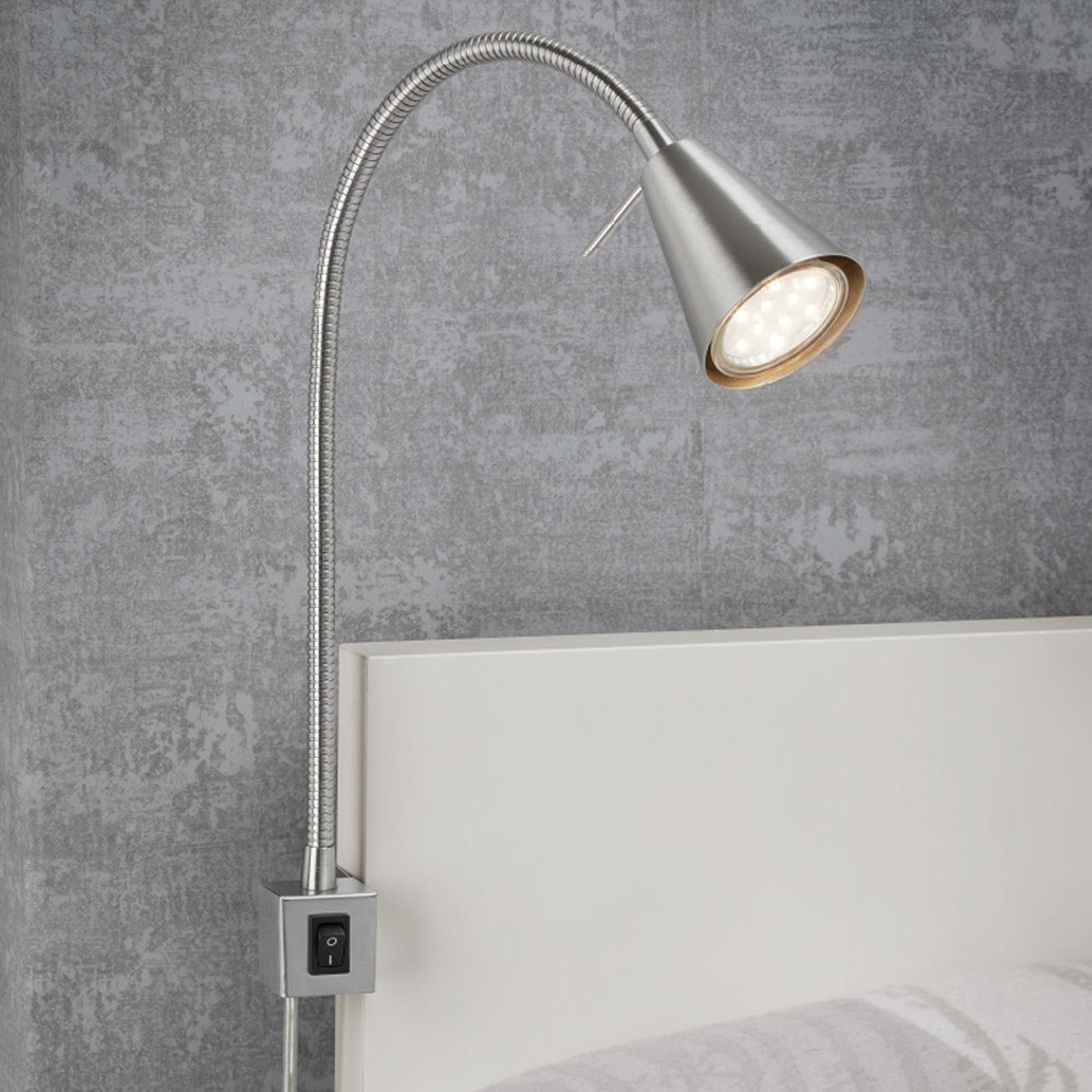LED-vegglampe 2080 til montering på seng, nikkel