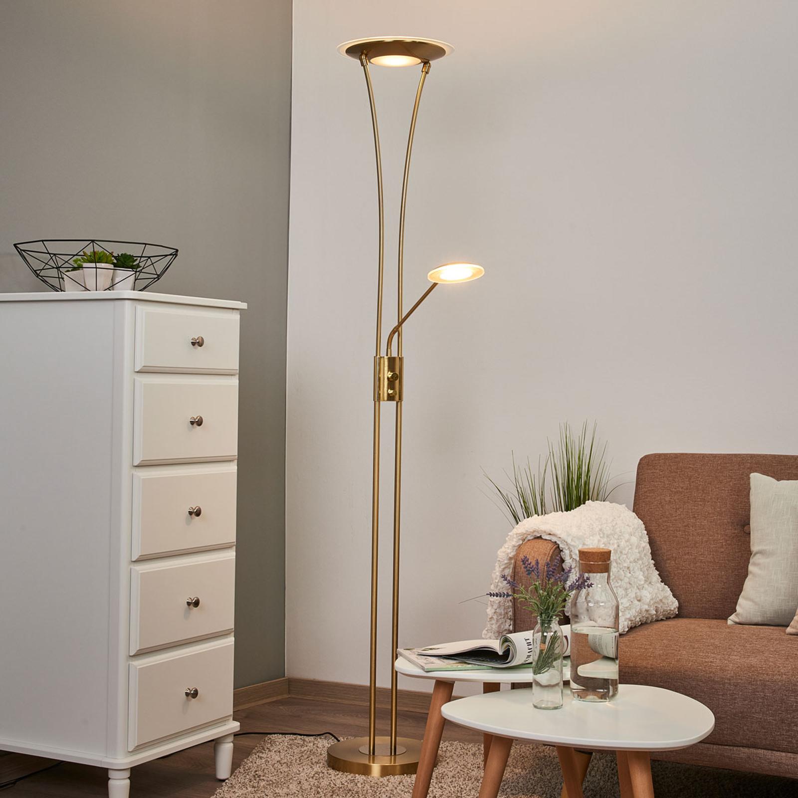 Klassisk golvlampa Eda med läslampa och dimmer