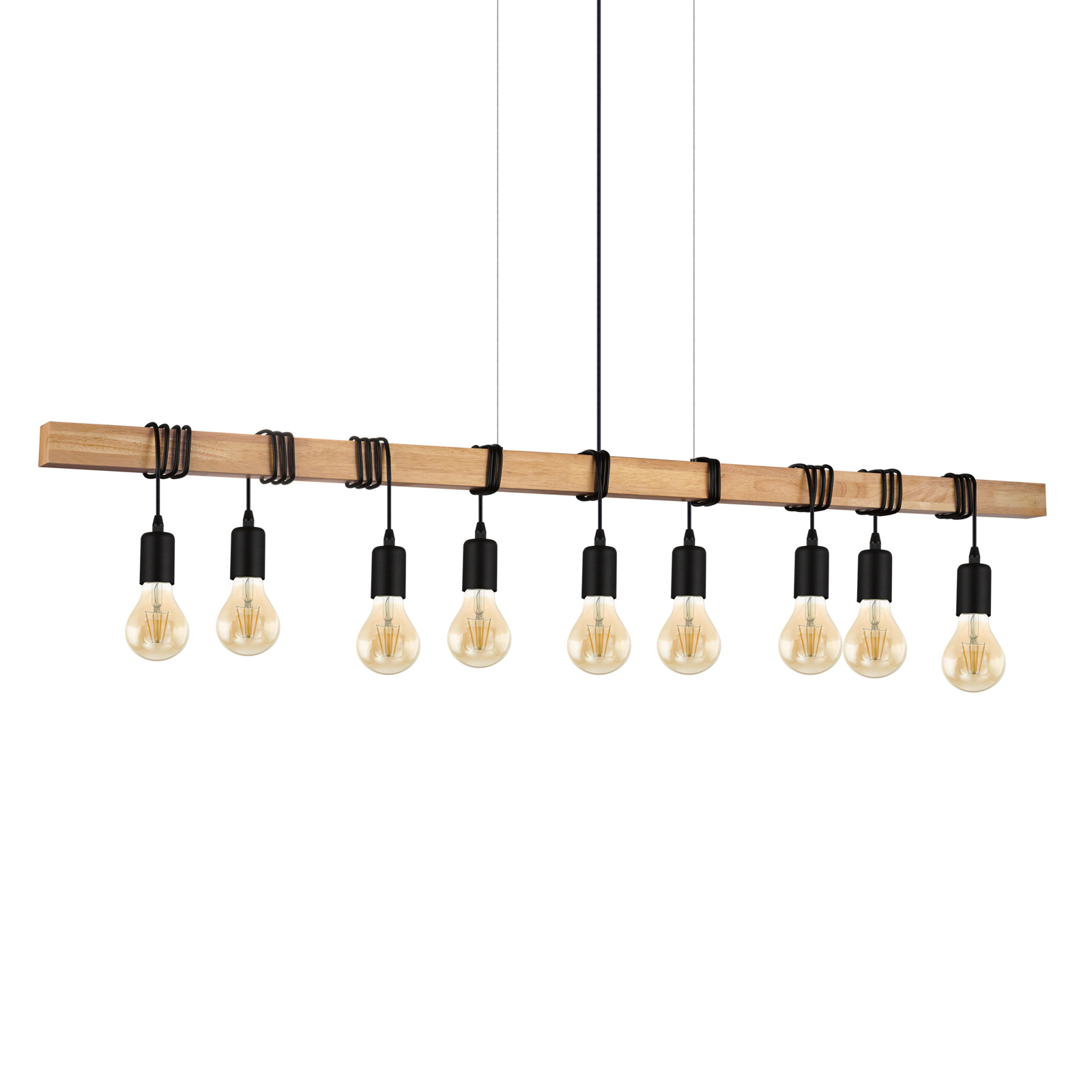 Lámpara colgante Townshend con madera, 9 luces
