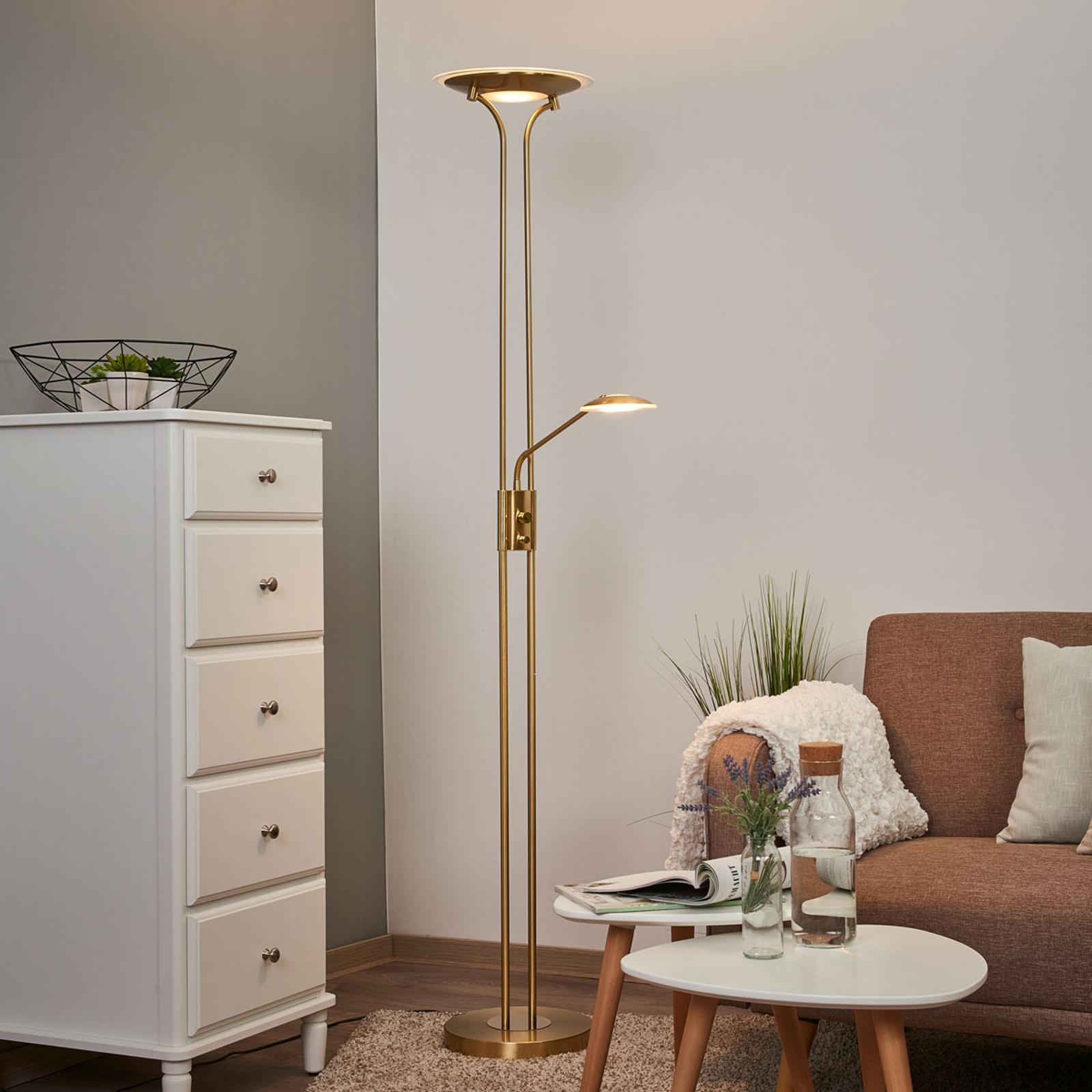 Lampa stojąca LED Aras z l. do czytania, mosiądz