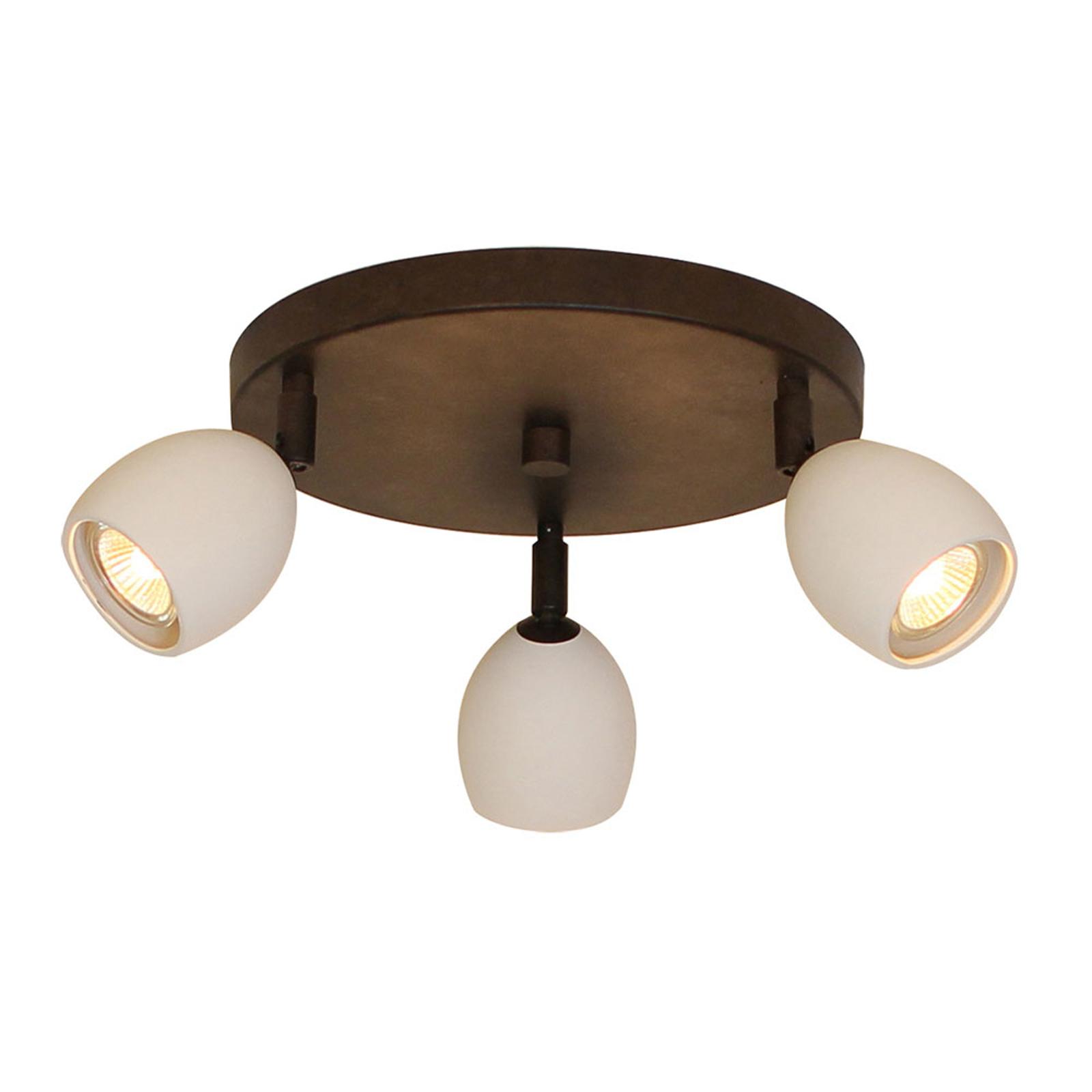 Menzel Provence loftlampe, mat, 3 lyskilder, rund