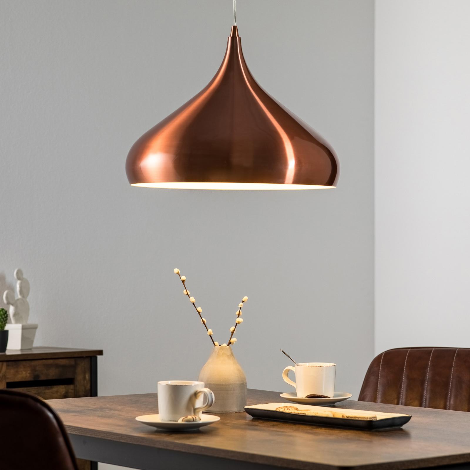 Koperkleurige hanglamp Norma van metaal