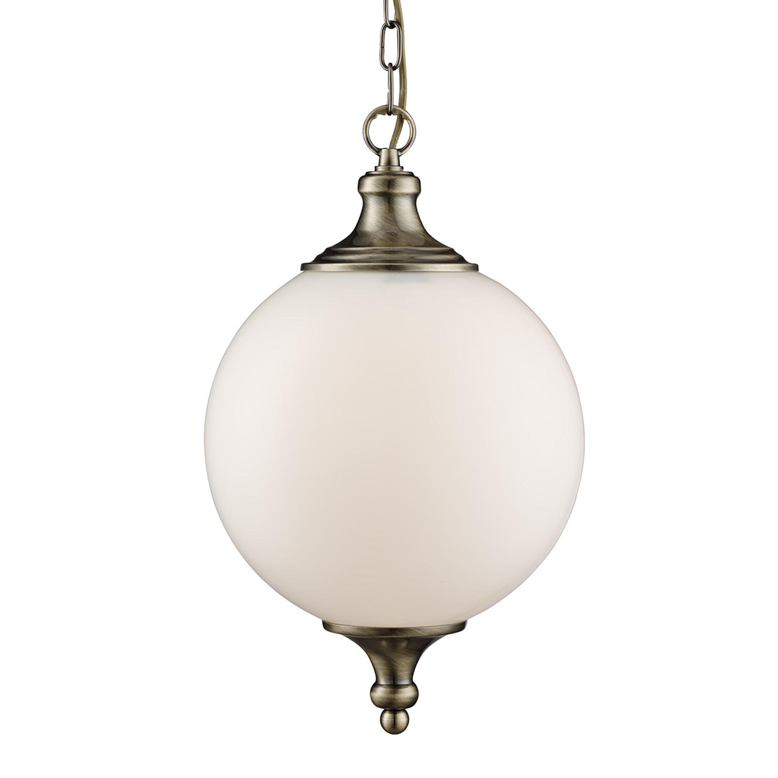 Okrągła lampa wisząca Whisko, postarzany mosiądz