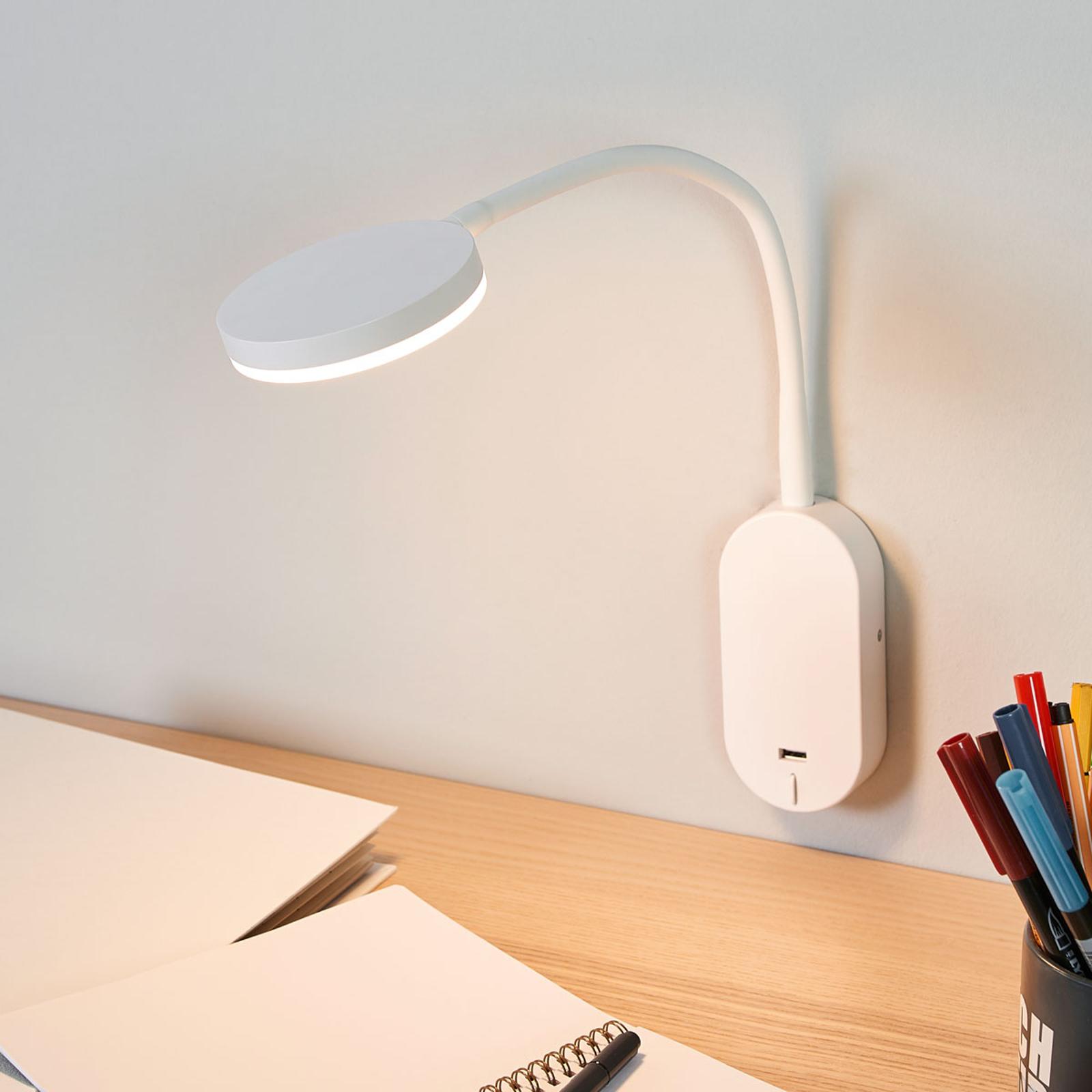 Milow LED-vegglampe med fleksibel arm og USB