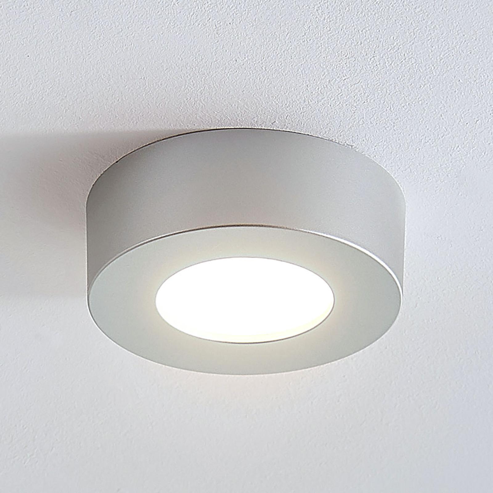 Plafonnier LED Marlo argenté 3000K rond 12,8cm