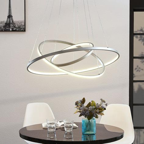 LED-pendellampe Ezana med tre ringer, nikkel