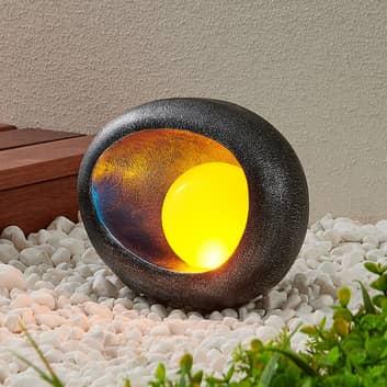 Lindby Tigran LED-solcellelampe, sølv, blå