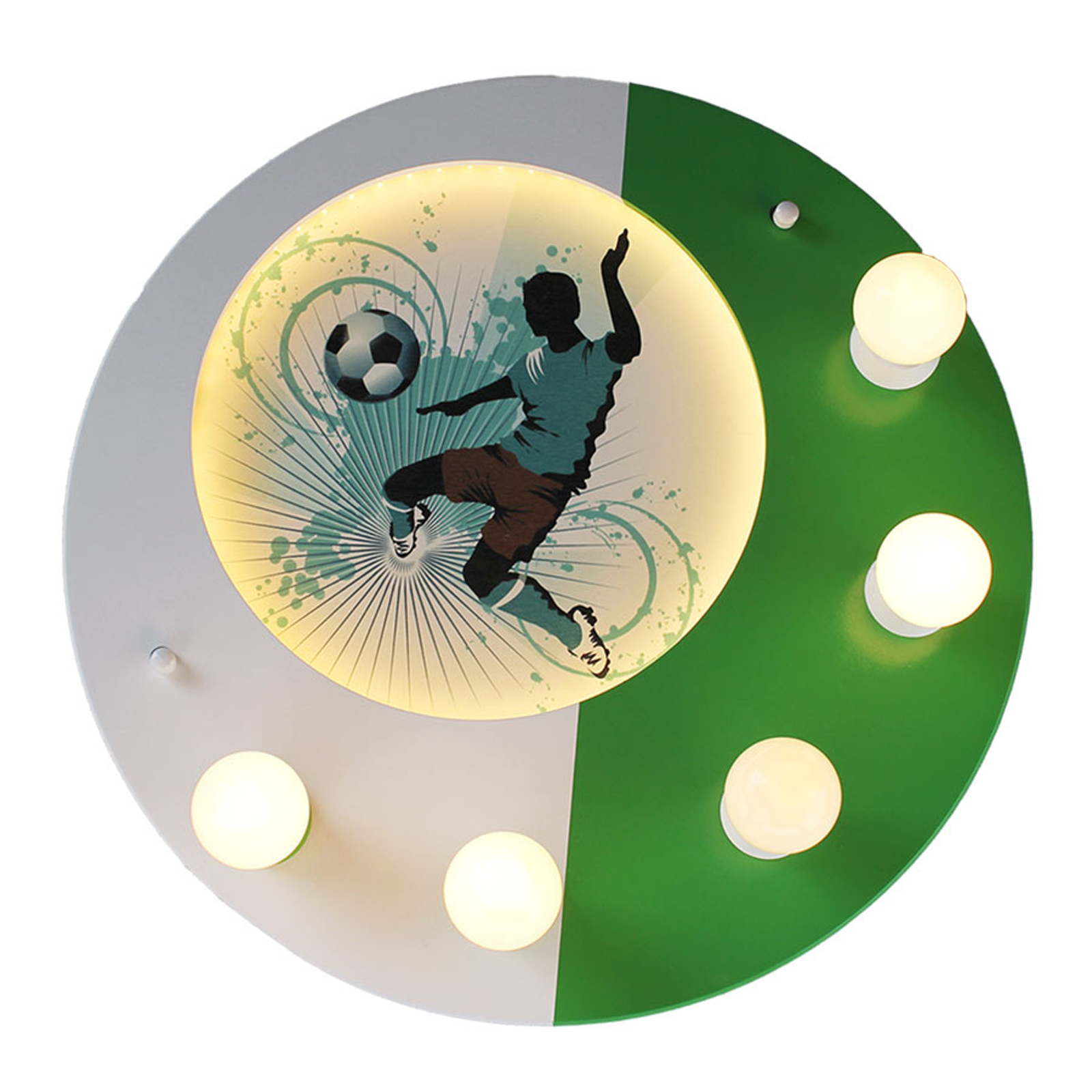 Plafonnier Football, 5 lampes, vert-blanc