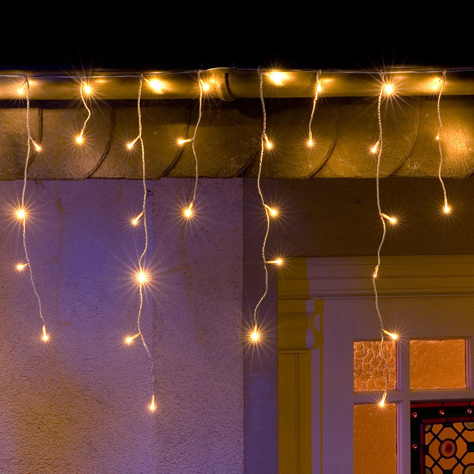 Isregn LED-lysforheng med 200 varmhvite lys
