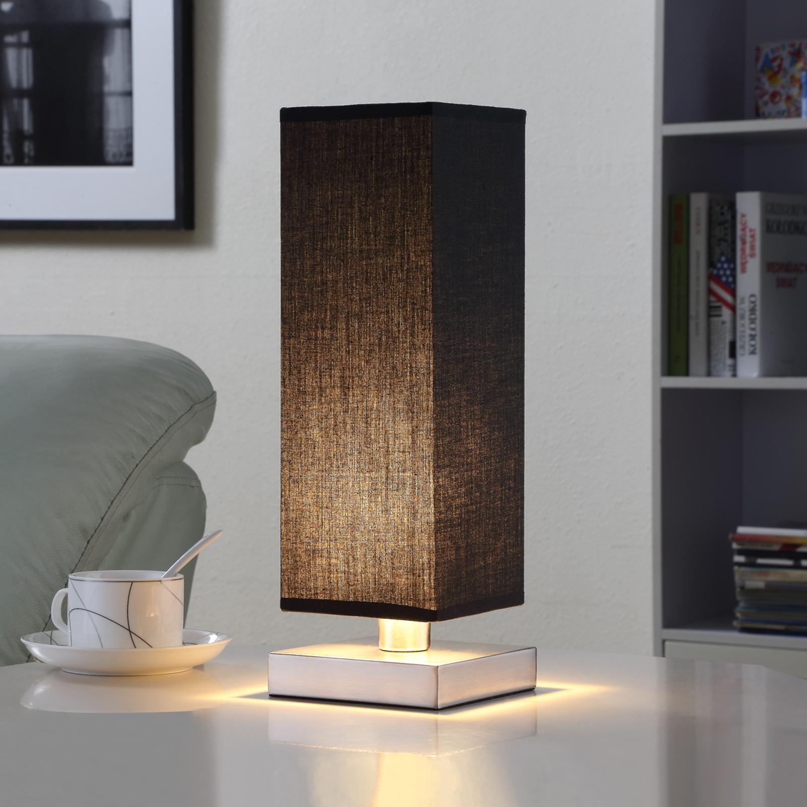 Schwarze Stofftischleuchte Martje m. LED-Lampe