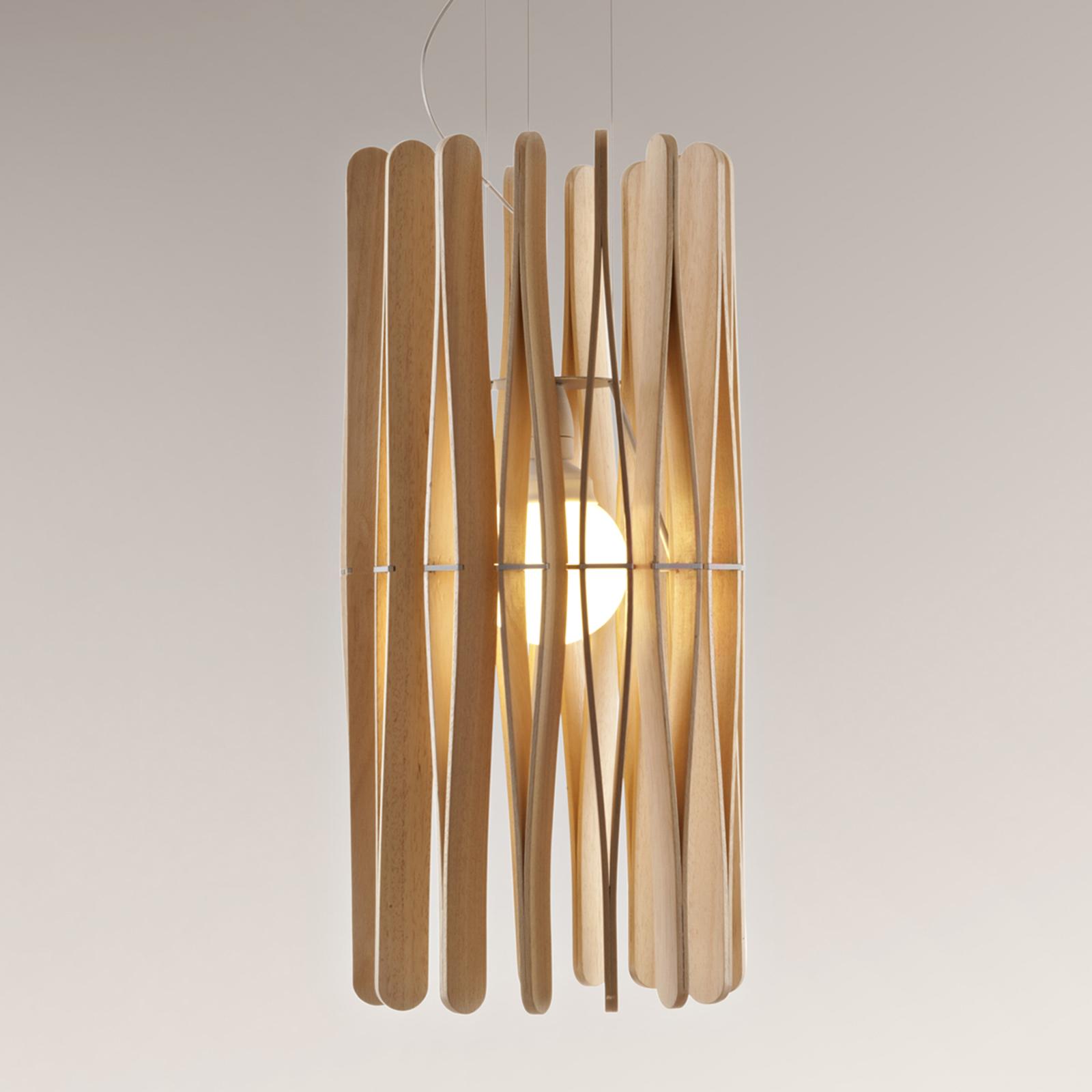 Fabbian Stick dřevěné závěsné světlo, cylindr 33cm