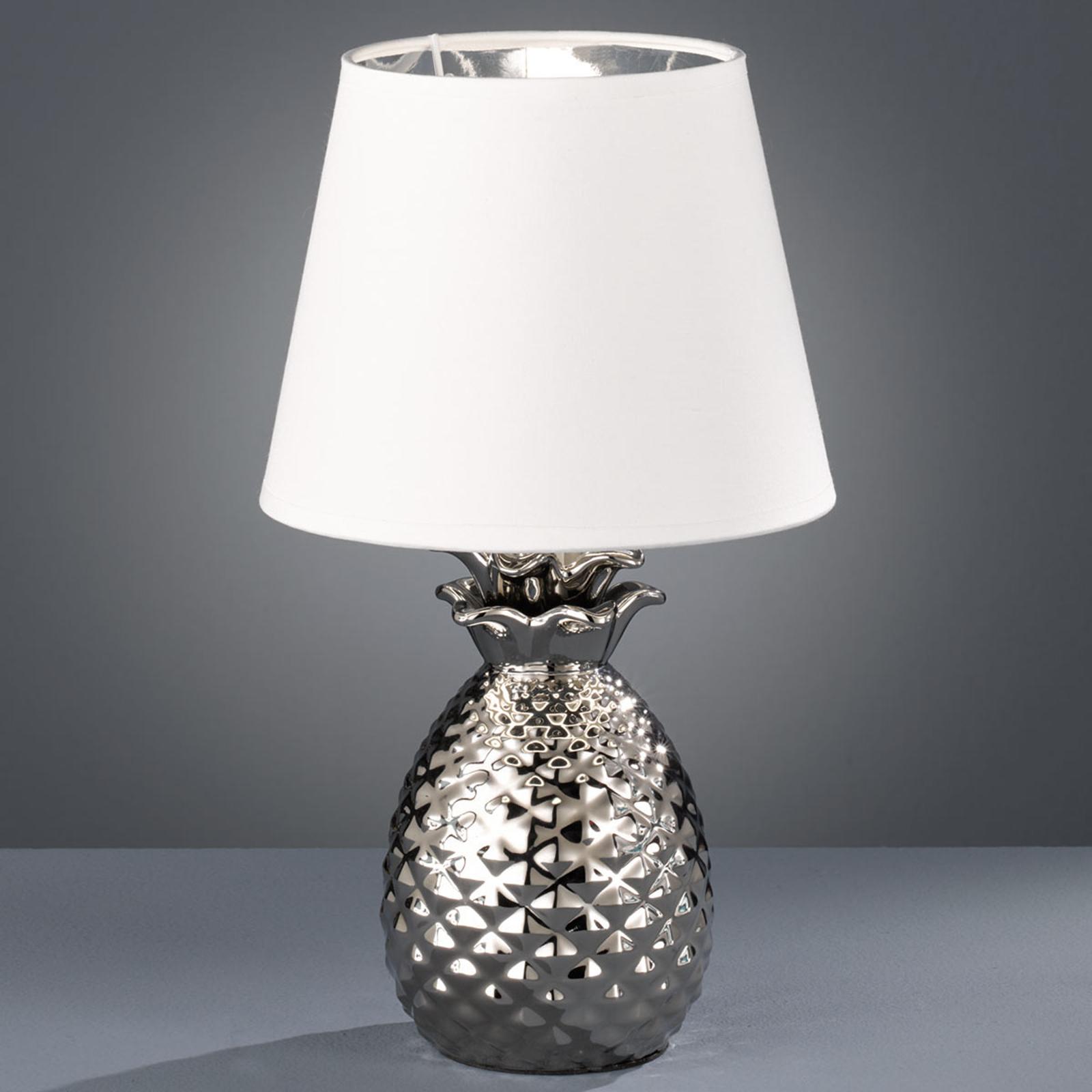 Dekorativ bordlampe Pineapple i keramikk, sølv