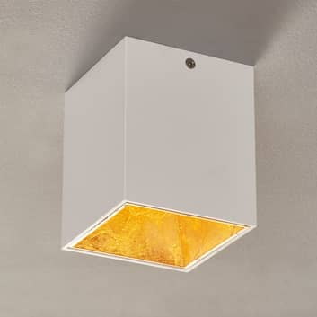LED stropní svítidlo Polasso hranaté, bílo-zlaté
