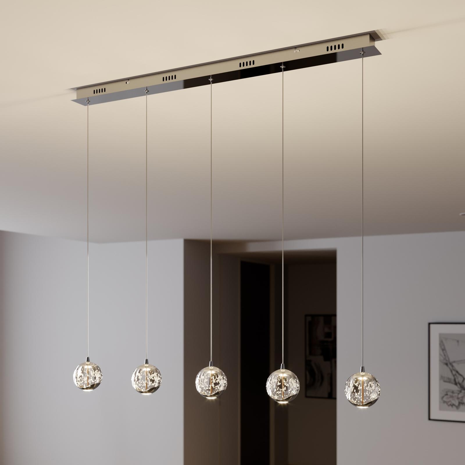 Suspension LED Hayley, 5lampes, allongé, chromé