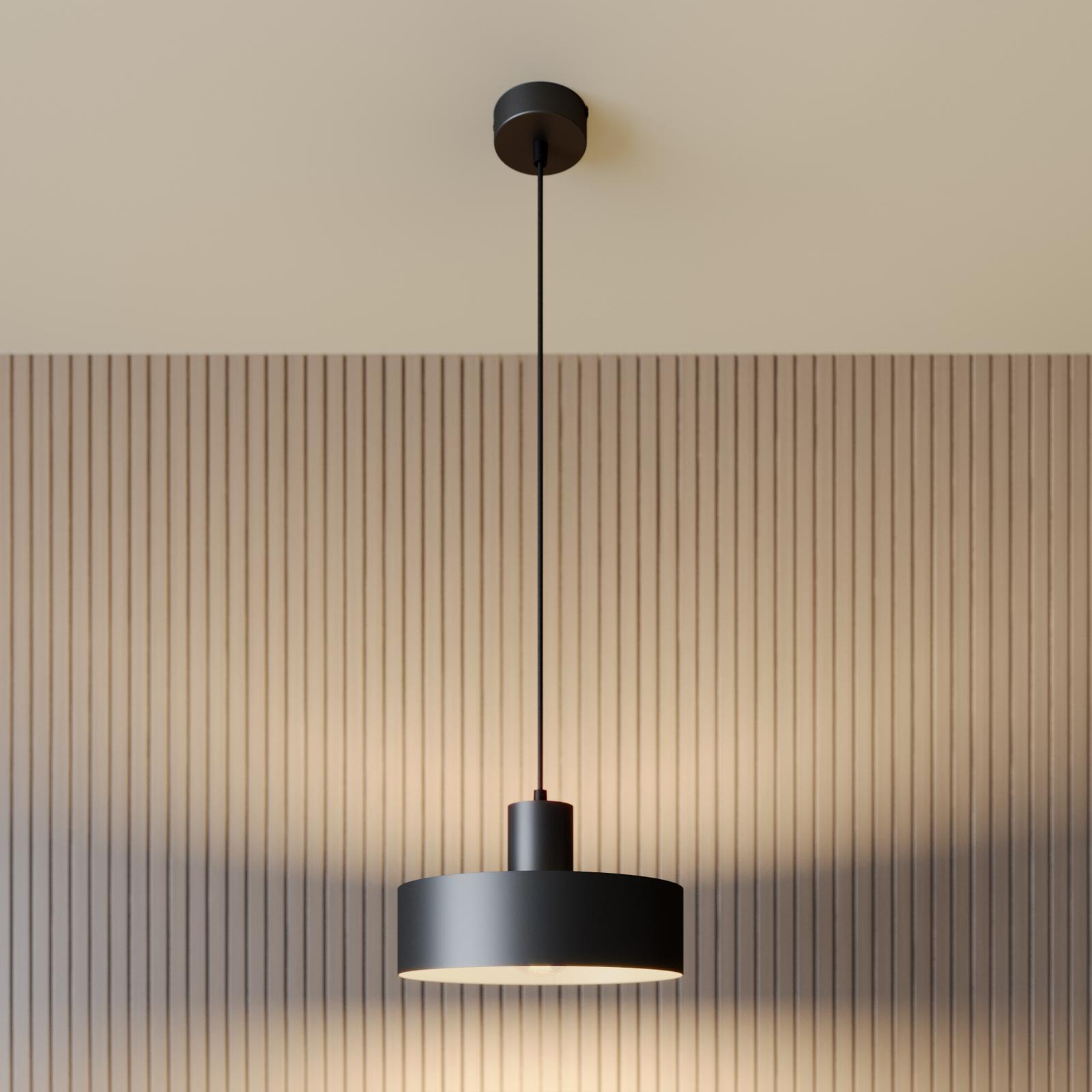 Lampa wisząca Rif z metalu, czarna, Ø 25 cm