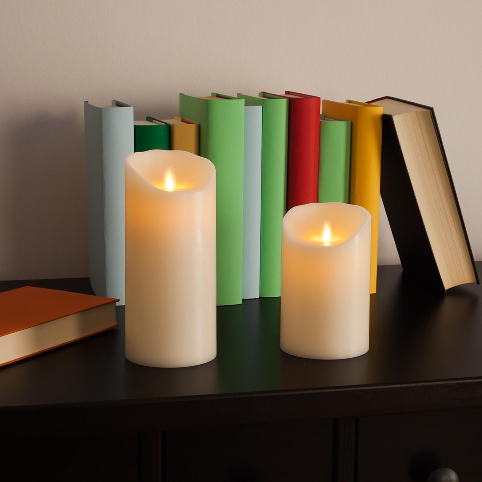 Flame LED-lys af rigtigt voks, 12,5 cm