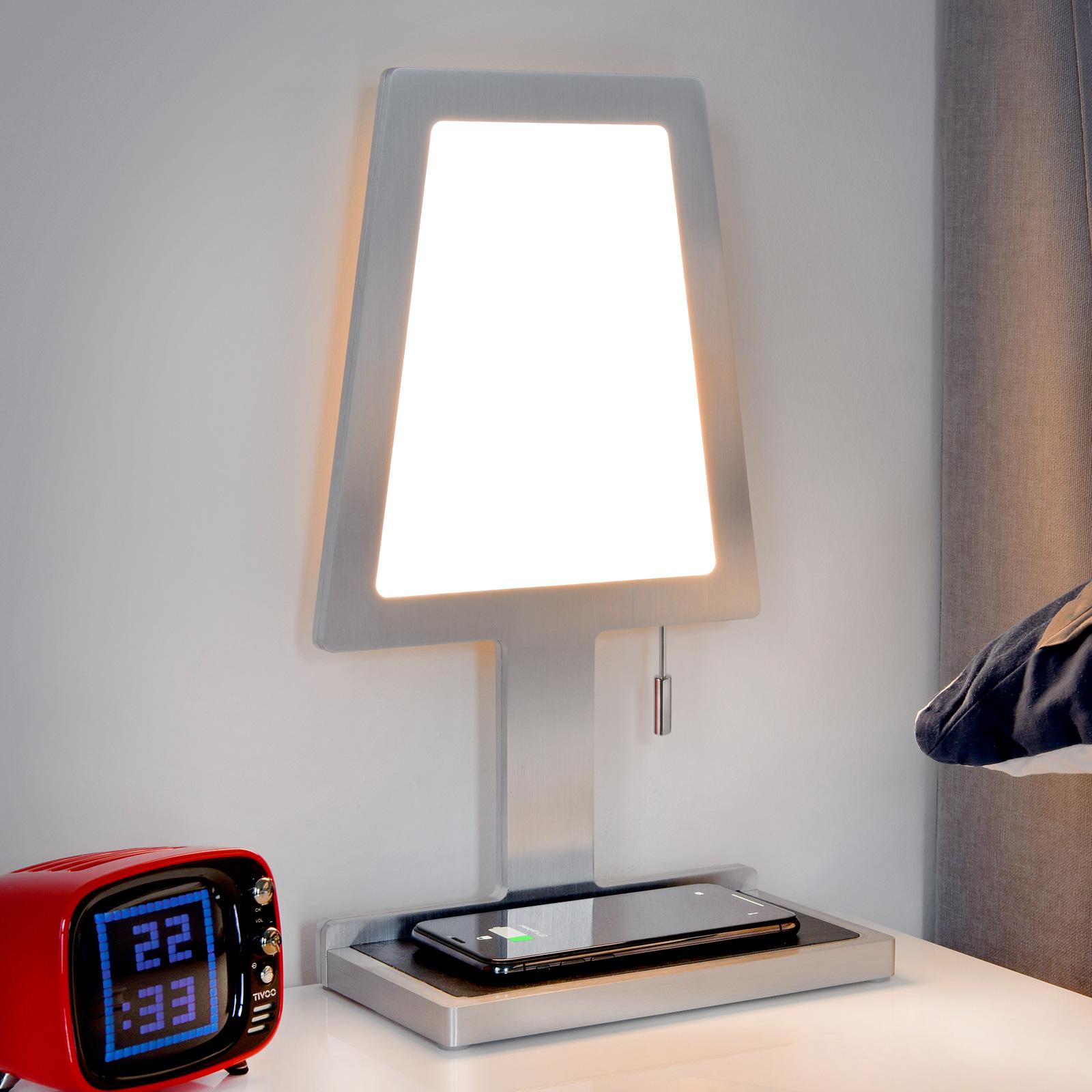Tischlampe Steve Phone Trapez, QI-Ladestation, alu