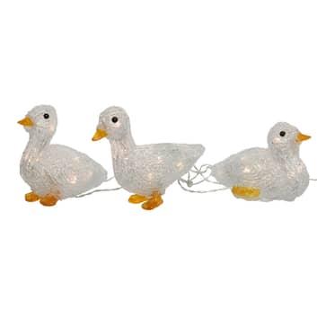 Figurine LED Canard en acrylique, lot de 3, pile