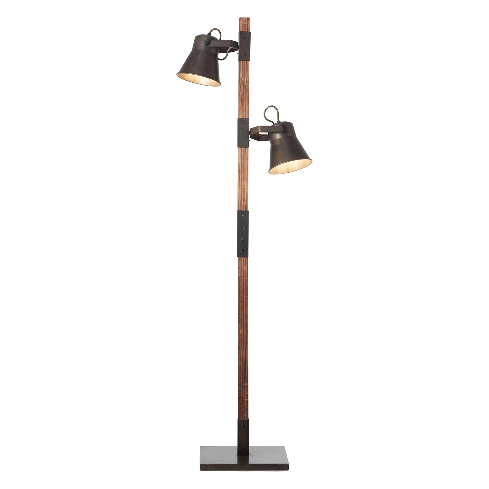 Golvlampa Plow med 2 spottar, svart/mörkt trä