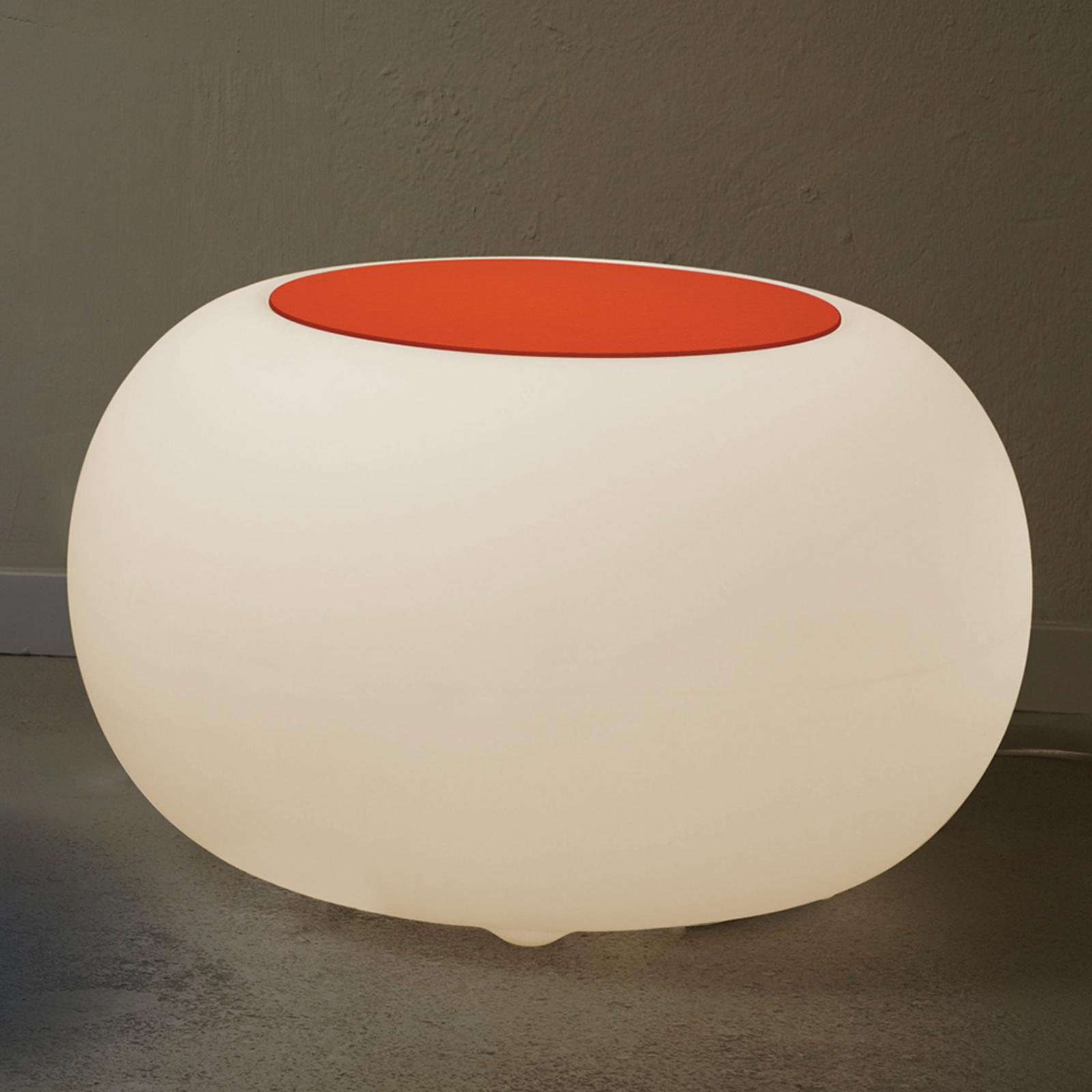 Table BUBBLE, Lumière blanche + feutrine orange