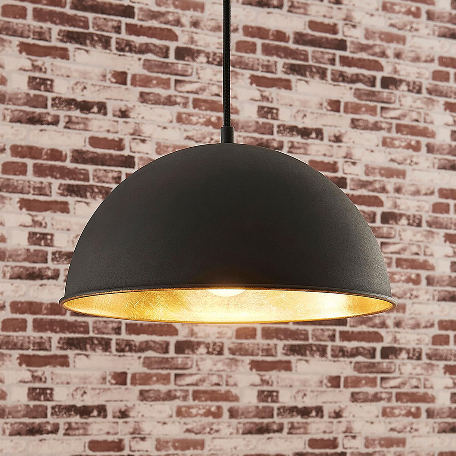 Czarno-złota lampa wisząca Leya
