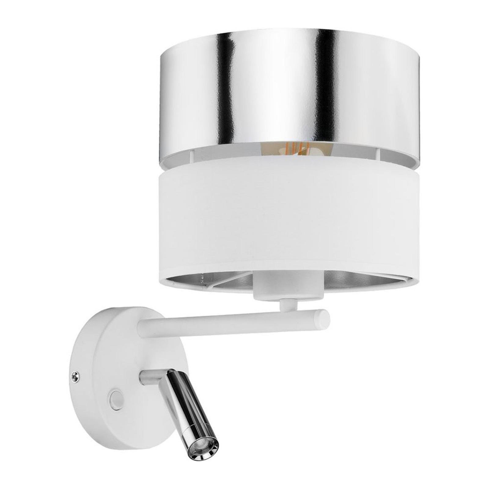 Hilton vegglampe hvit/sølv med LED-leselampe