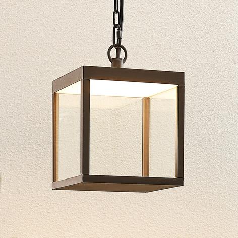 Utendørs LED-pendellampe Cube, glasskjerm, 18 cm