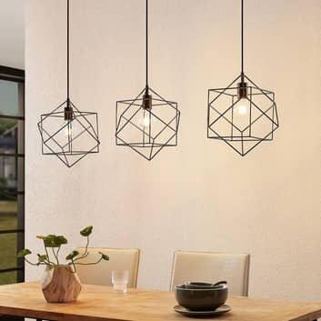 Lindby Finnigan hanglamp, roosterkap, 3-lamps