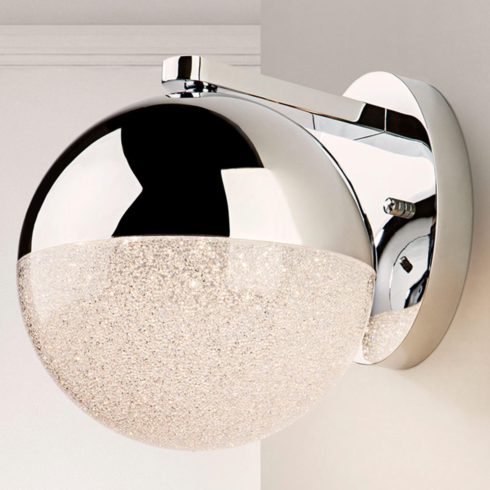 LED-vegglampe Sphere, krom