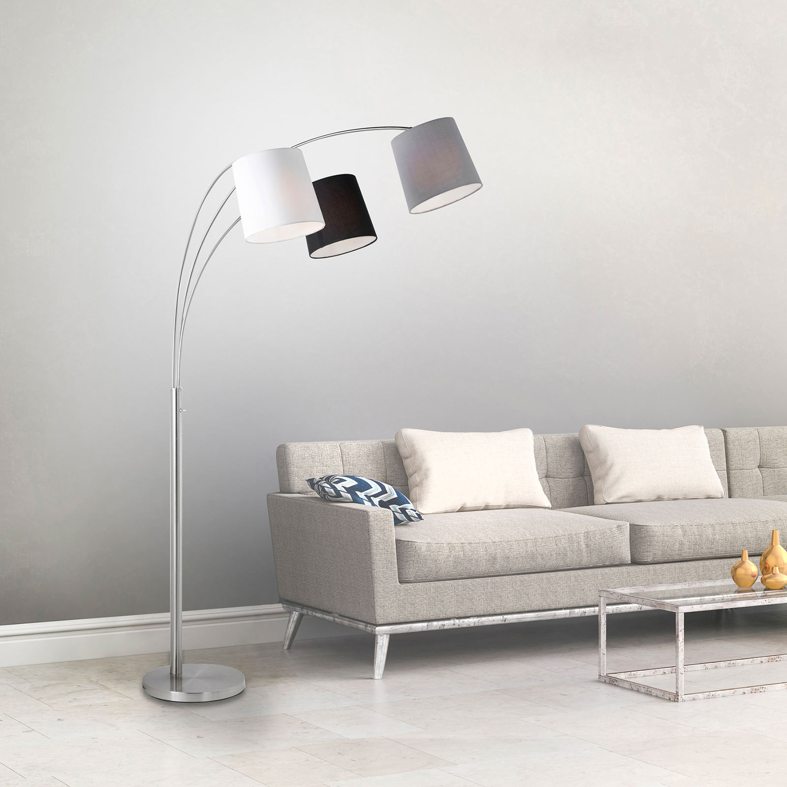 Golvlampa Melvin, 3 lampor, svart/grå/vit