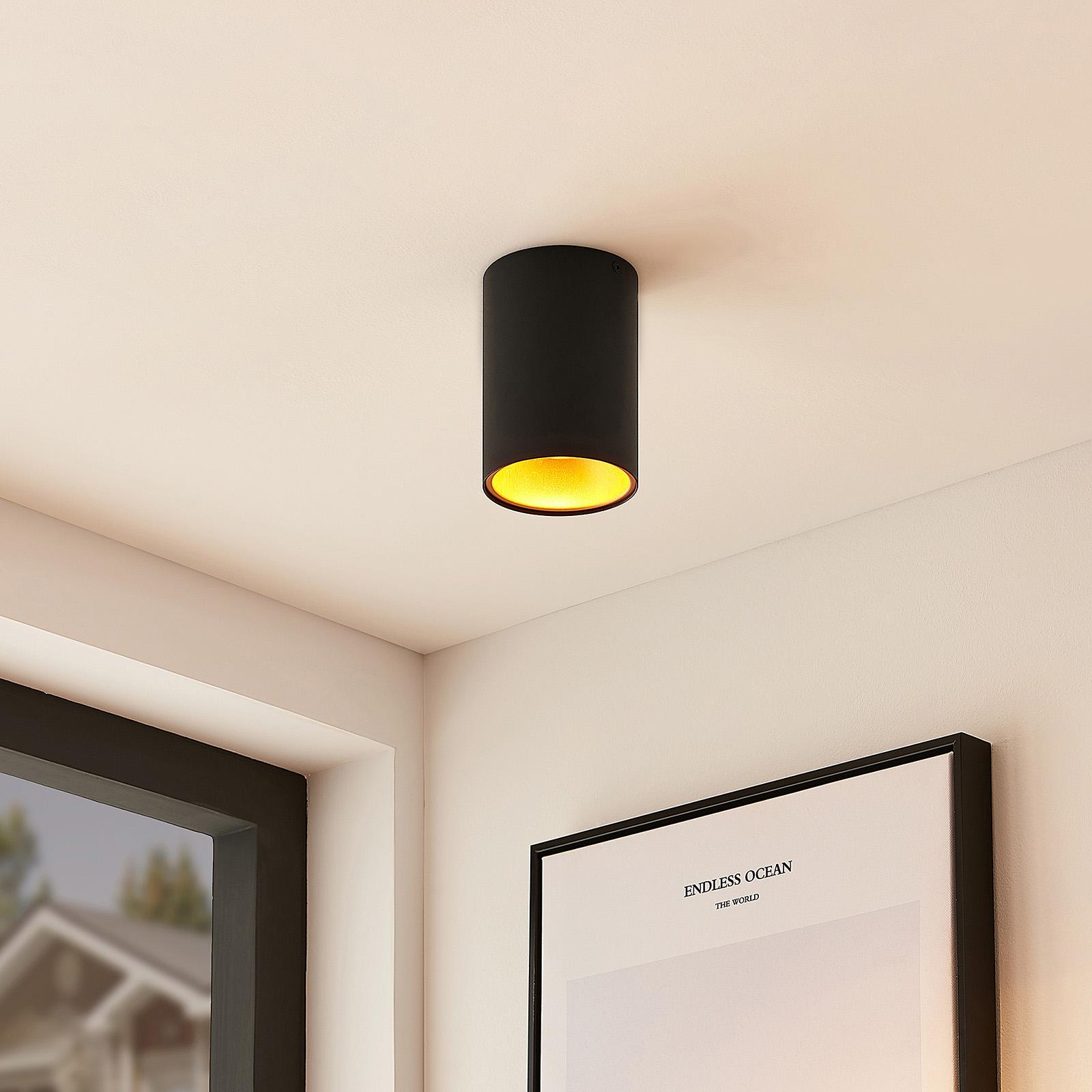 Arcchio Hinka lampa sufitowa okrągła 14 cm, czarna