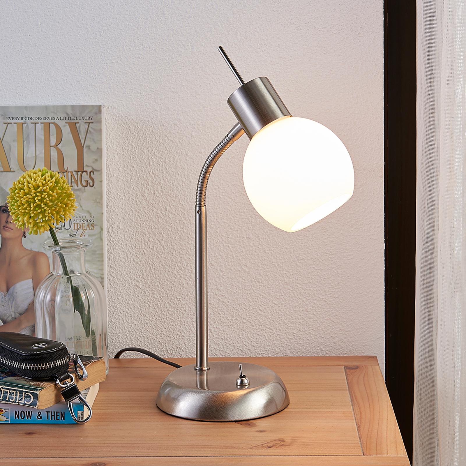 Stolní LED lampa Manon se skleněným stínidlem